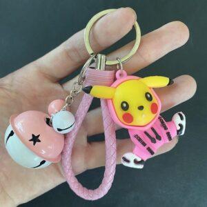 Porte Clé Pokémon Pikachu Cloche Rose